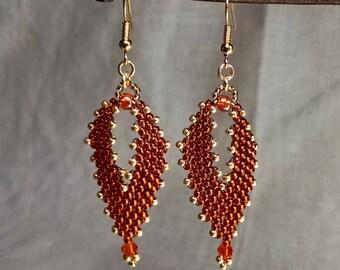 Dangle & Drop Earrings in  in Burnt Orange and Gold, Beaded Earrings, Seed Bead Earrings, Russian Leaf Earrings, Peyote Earrings