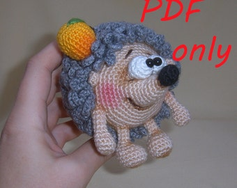 Hedgehog with an apple Crochet Pattern amigurumi PDF