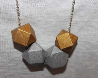 Wooden geometric chain necklace