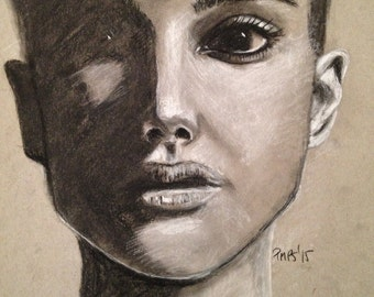 Custom portrait, charcoal drawing, strong shadows,  personalized art,  portrait from your photo