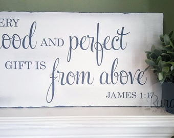 Every Good and Perfect Gift | FREE US SHIPPING, scripture, bible, wood sign, nursery decor, nursery art, baby gift, nursery sign, home decor