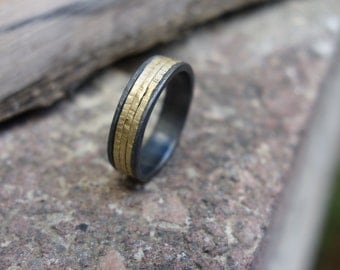Wedding ring Engagement Ring Promise Ring Wedding Band Silver & Gold Unique Ring Handmade Jewelry Men's ring Women's ring Oxidized silver