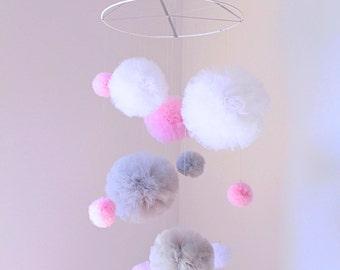 Pink Baby Girl Mobile, Tulle Pom Pom Mobile, Pom Pom Nursery Decor, Pink Mobile, Baby Mobile Hanging, Pink Nursery Mobile, Baby Girl Nursery