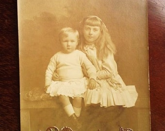 Original Vintage Sepia Postcard Photograph from the 20s- Siblings:girl and little brother- Early Century Studio Photo- Scrapbooking Supply