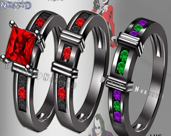 His & Hers Harley Quinn and The Joker Batman Inspired Black Rhodium or Black Gold Engagement Ring Set