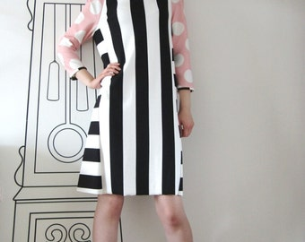 Long Sleeve Blend Dress / Polka Dot Striped Dress by FabraModaStudio / D112