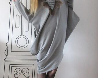 Asymmetrical Long Sleeve Tunic Top / Drop Shoulder Dress by FabraModaStudio / D133