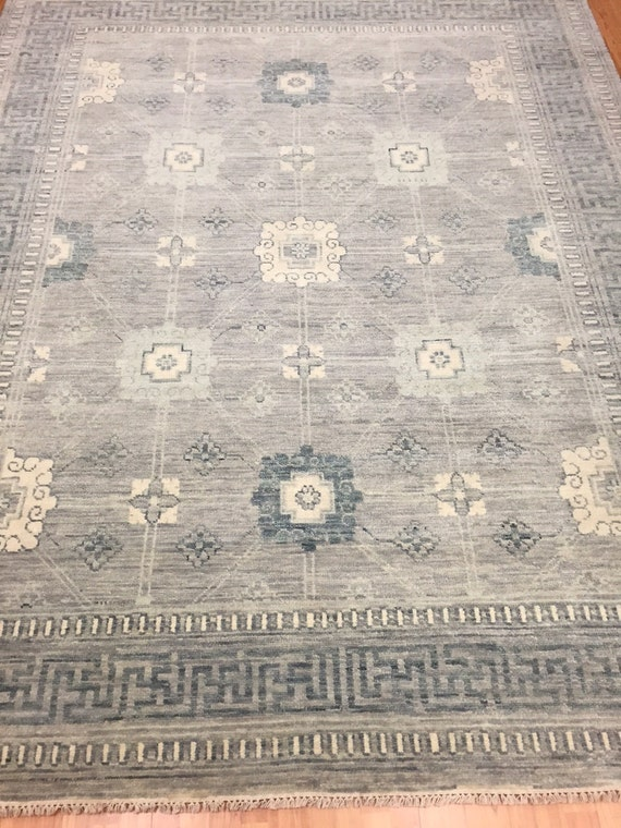 "8'1"" x 10'3"" Soft Melody Indian Oriental Rug - Modern - Hand Made - 100% Wool"