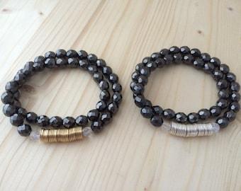 Czech Glass & Metal Discs // Double Wrap Bracelet
