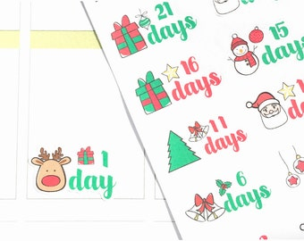Christmas Countdown Stickers, Holiday Planner Stickers, Christmas Stickers for Erin Condren Planner, Scrapbook Stickers, December Stickers