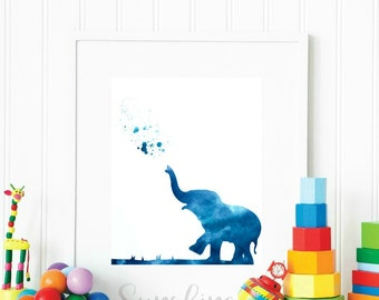 Baby Elephant, Elephant Wall Art, Trending Now, Elephant Print, Elephant Decor, Nursery, Animal Print, Printable Art, Watercolor Elephant