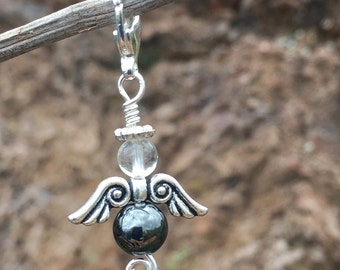 Angel Hematite Medicine Drop angel charm angel dangle lobster claw clasp