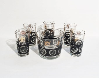 Vintage Bar Set Black and Gold Coin Pattern,5 Highball glasses and Ice Bucket, Mid Century