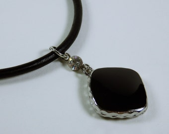 Necklace black stone on a black leather strap with sparkling, clear rhinestone silver jewelry Black
