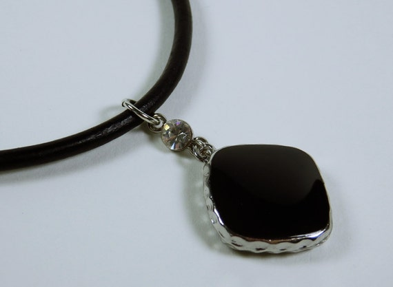 Necklace Black stone on black leather strap with shiny, clear rhinestone silver jewelry Black