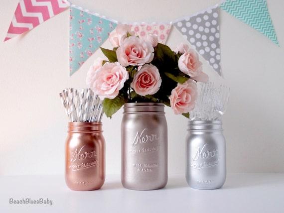 Rose gold mason jars copper silver centerpiece vase party