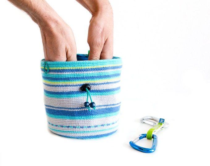 Chalk Bucket for Bouldering. Large Chalk Bag XXL - Crochet Bucket for Climbing