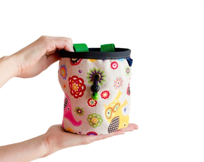 Cool Chalk Bag. Bouldering Chalk Bag. Large Chalk Bag for Rock Climbing - Elephant Print Chalkbag - Size L