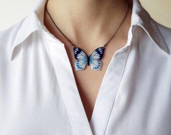 Butterfly Necklace, Papilio laglaizei, Blue Butterfly, OOAK, Wearable Art