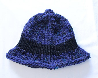 Blue Knitted Brimmed Hat