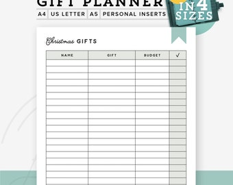 Gift planner printable PDF, Printable gift list, christmas list, Christmas Planner, A5 refill A4/Letter, Personal Inserts, Instant Download