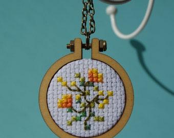 Orange Blossom Cross Stitch Necklace