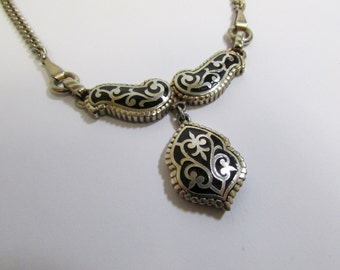 Vintage Barclay Paisley-Like Filigree Necklace / Signed