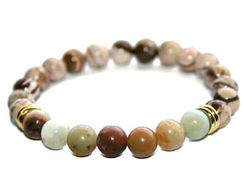 Earthy Bracelet Amazonite Jewelry Healing Jewelry Mala Beaded Bracelet Zen Gifts Yoga Gifts Earthy Gifts Meditation Bracelet Jasper Bracelet