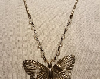 Antique Butterfly Pendant on Vintage Silver Chain