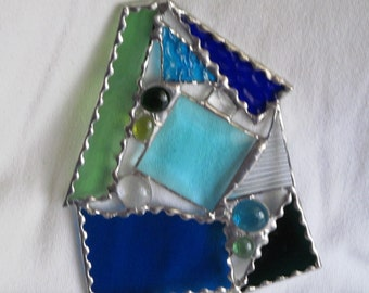 ocean, beachy, water, abstract, glass, sun catcher, prism, HappyGlass06, blue, green,