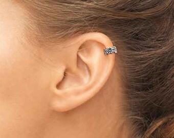 Sterling Silver Ear Cuff, Silver Ear Cuff, Tiny Ear Cuff, Cartilage Cuff, Flower Ear Cuff, Silver Tiny Ear cuff, Ear Cuff. Sterling Ear Cuff