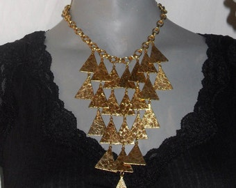 Gold Multi-Strand/Choker Hanging Triangle Chain Statement Necklace