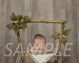 Newborn digital backdrop - Newborn digital background - Ivy leaf wishing well basket with burlap layers - newborn digital prop