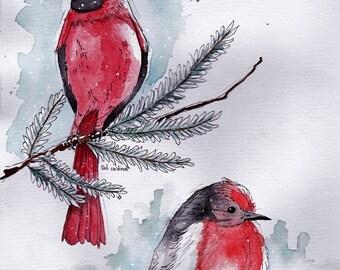 Original snow birds watercolor painting - Red Cardinal