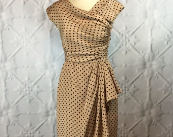 Oscar de la Renta Vintage 1970s Silk Polka Dot Ruched Bombshell Day Dress