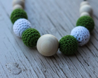 Olive and White Crochet Bead Necklace ~ Nursing Necklace