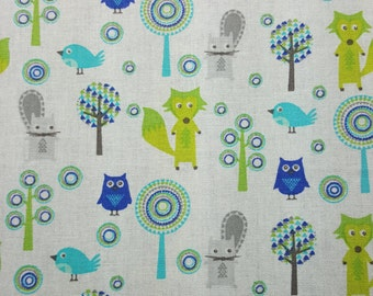 Woodland Creatures Fabric, Fat Quarter Only, FQ, Nursery Print, Baby Print, Foxes, Owls, Birds, Beavers, Green, Blue, Gray, Woodland Scene