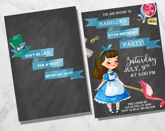 Alice in Wonderland Birthday Invitation, Alice in Wonderland Birthday Invitations, Alice in Wonderland Party, Alice Birthday, Alice Party
