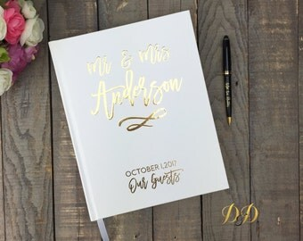 Guest Book Ideas Wedding Guest Book gold foil guestbook wedding decor real foil custom guest book personalized wedding gift wedding notebook