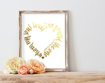 I Have Found The One Whom My Soul Loves Gold Foil Print Song of Solomon 3:4 Bible Verse Print FREE US SHIPPING