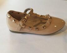 Beige/Nude Toddler Kids Rockstud Shoes, Studded Flats, Maryjanes