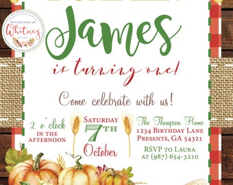 Our Little Pumpkin is Turning One First Birthday Digital Printable Invitation Design