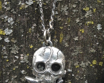 Skull with Shark Pendant Necklace