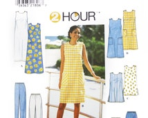 Uncut Simplicity Sewing Pattern 8207, Women Dress Tunic Pants with Pockets, Loose Fitting Tank Top Dress, Short Dress, Chic Maxi Dress
