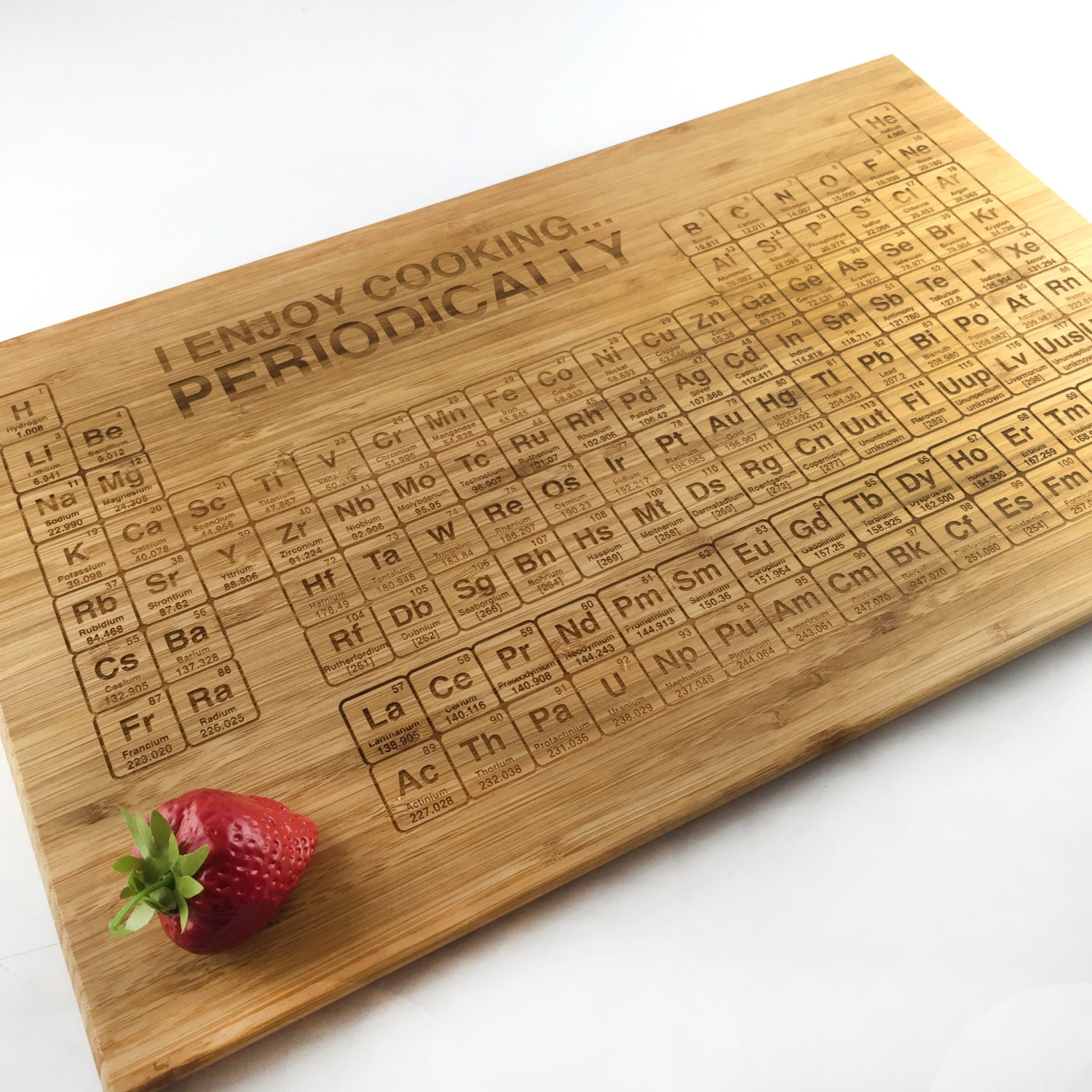Periodic table cutting board geek nerd i enjoy cooking periodically science gift laser engraved - Periodic table chopping board ...