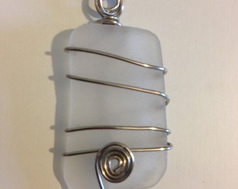White Sea Glass Necklace with Bottom Swirl