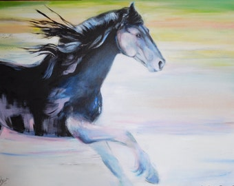 painting on canvas, Frisian horse. contemporary acrylic painting. Original work and unique.46cmx61cm