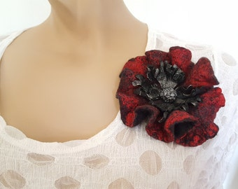 Handmade red, black brooch flower, unique felted wool decoration, OOAK, natural leather, felted wool, textile decoration