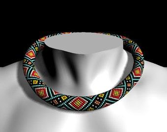 Native american bead crochet pattern - Bead crochet rope pattern necklace or bracelet  - Crochet necklace - PDF tutorial - Pattern Only
