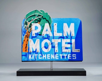 Palm Motel Neon sign Photo / vintage motel sign / neon sign / Palm tree / tropical decor / mid century decor / hawaiian decor /  retro